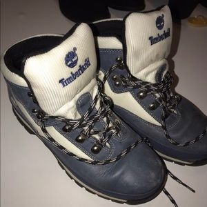 White & Blue Timberland Boots
